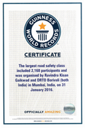 largest bike rally for roads safety awarness certificate
